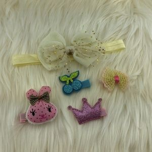 Hair bow clips Yellow, Pink, Blue